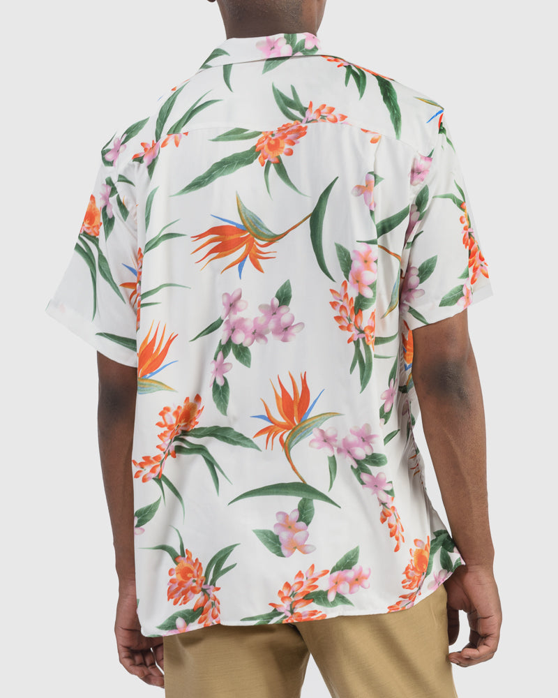 Shirt in White Aloha Print