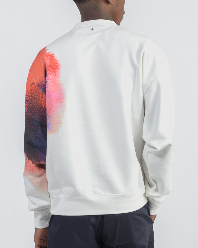 Watercolor Crewneck in Off-White/ Red