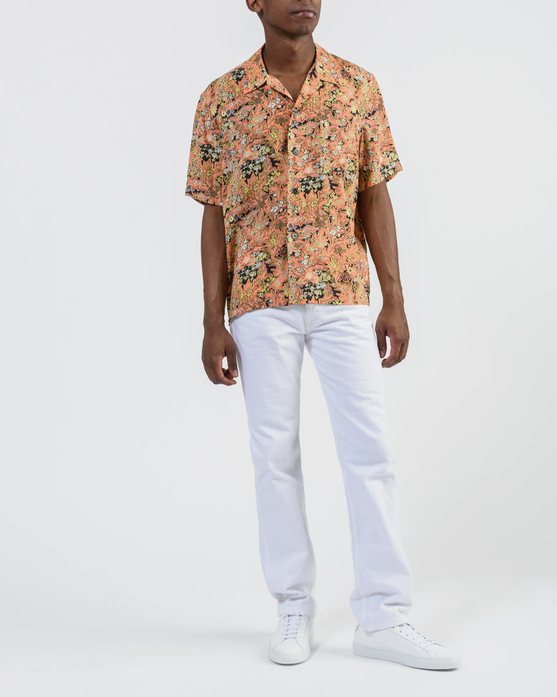 Box Shirt in Red Plants Print