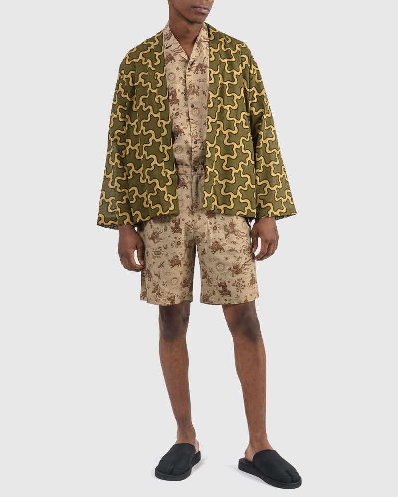 Nanpou Camo Long Sleeve Haori in Coyote x Olive