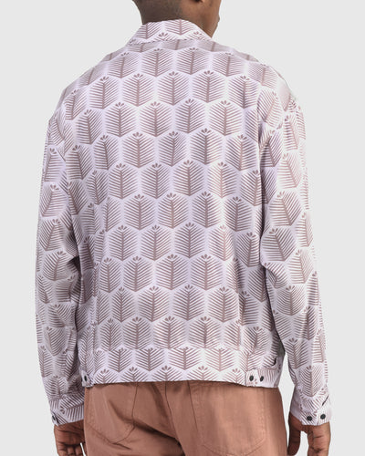 Nanpou Plant Shirt Jacket in Light Purple x Charcoal