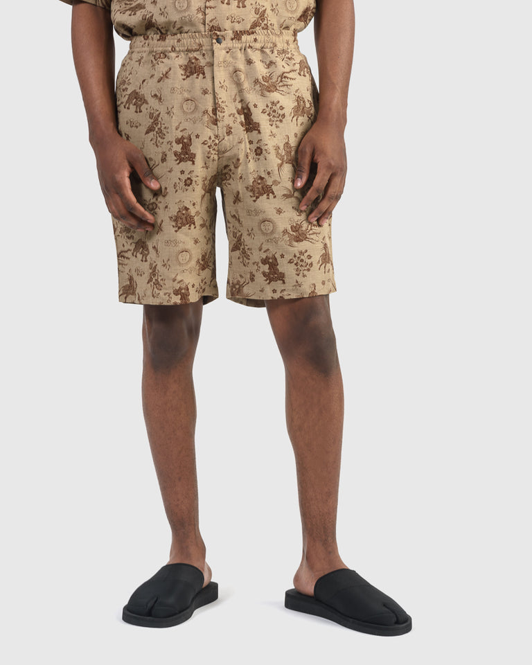 Old Nanpou Shorts in Beige x Gold