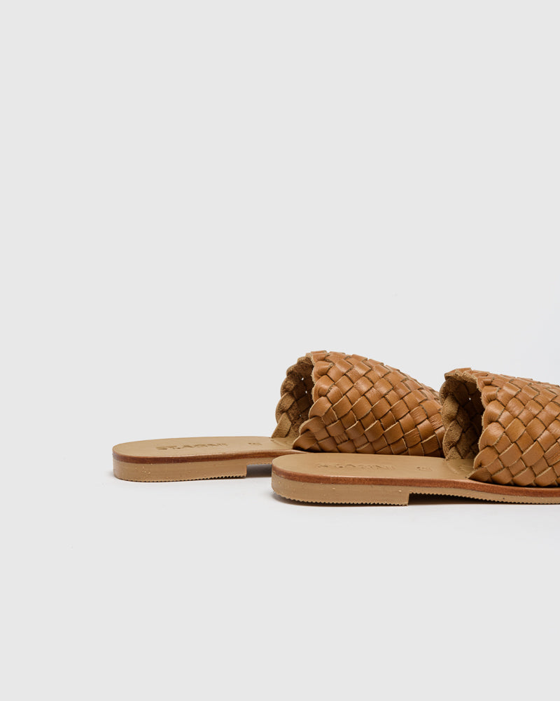 Corfu Woven Slides in Almond