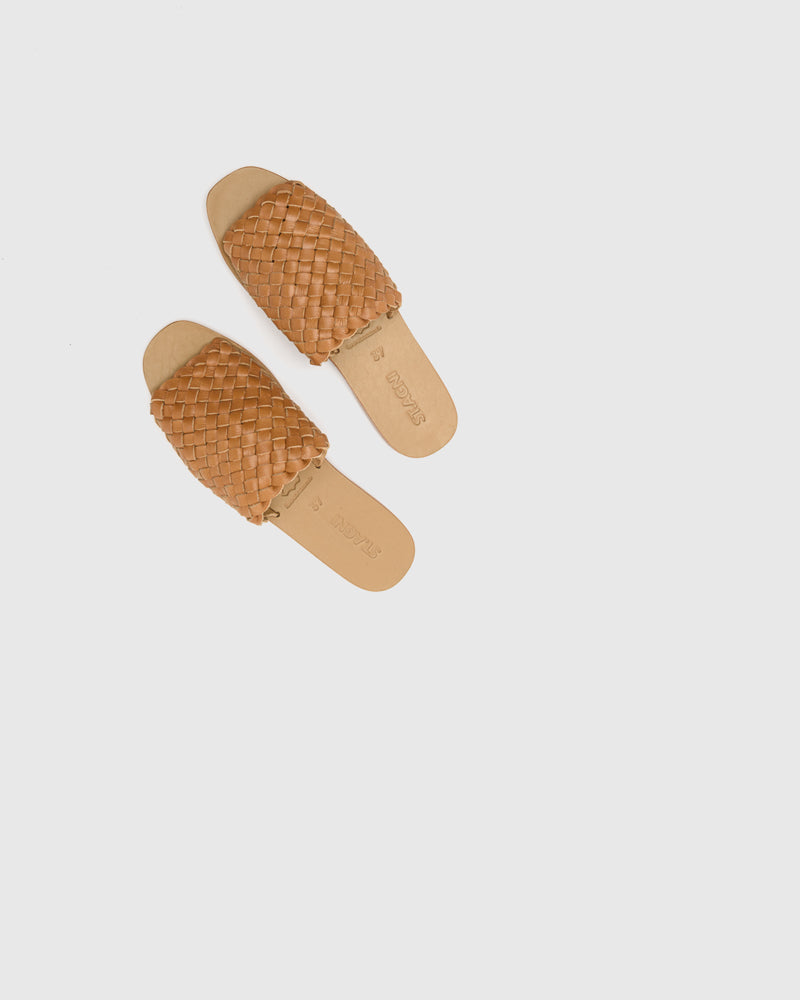 Corfu Woven Slides in Almond by ST. AGNI at Mohawk General Store
