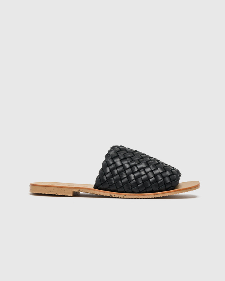 Corfu Woven Slides in Black