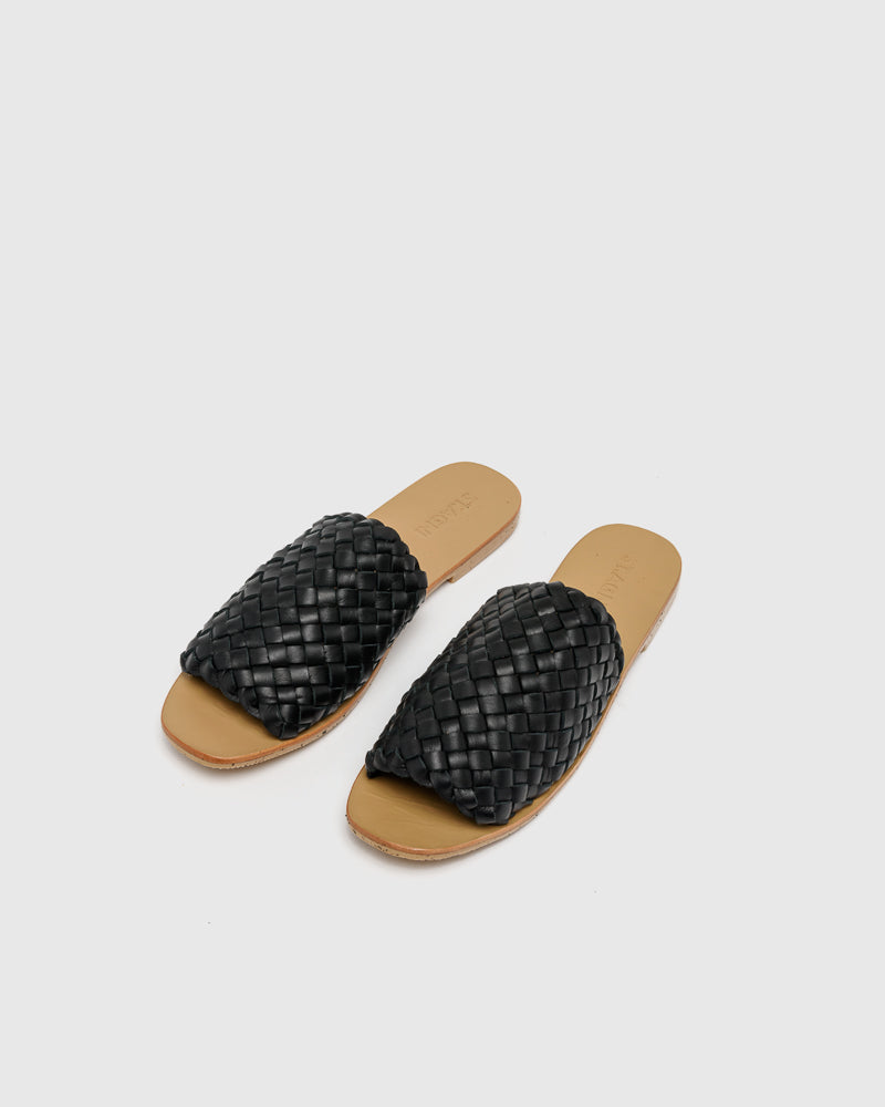 Corfu Woven Slides in Black by ST. AGNI at Mohawk General Store