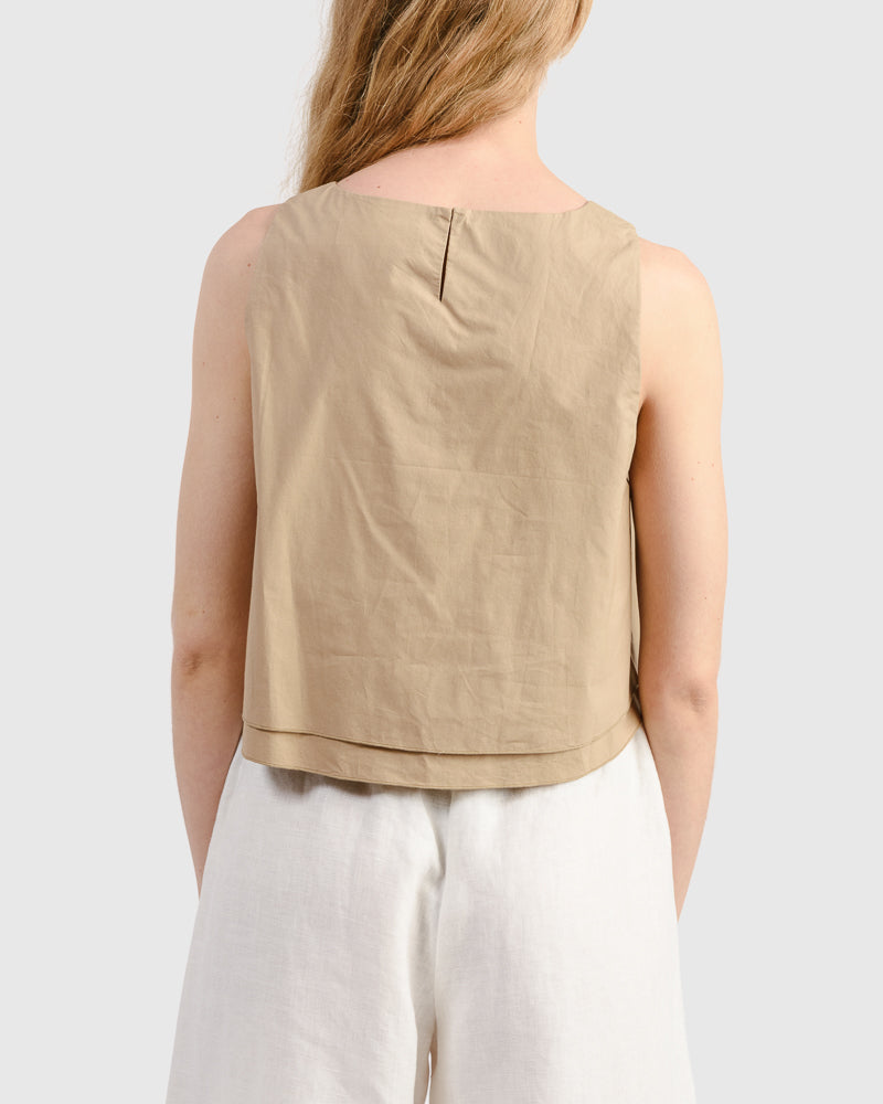 Agnes Top in Khaki  by Apiece Apart at Mohawk General Store