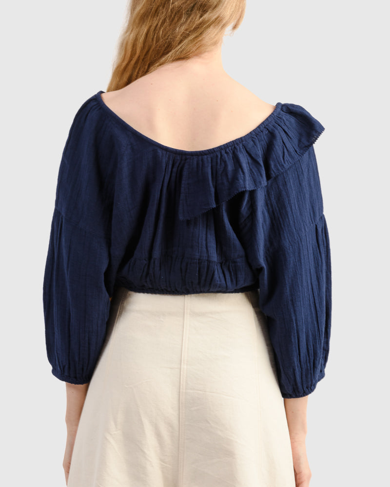 Cela Crop Top in Navy