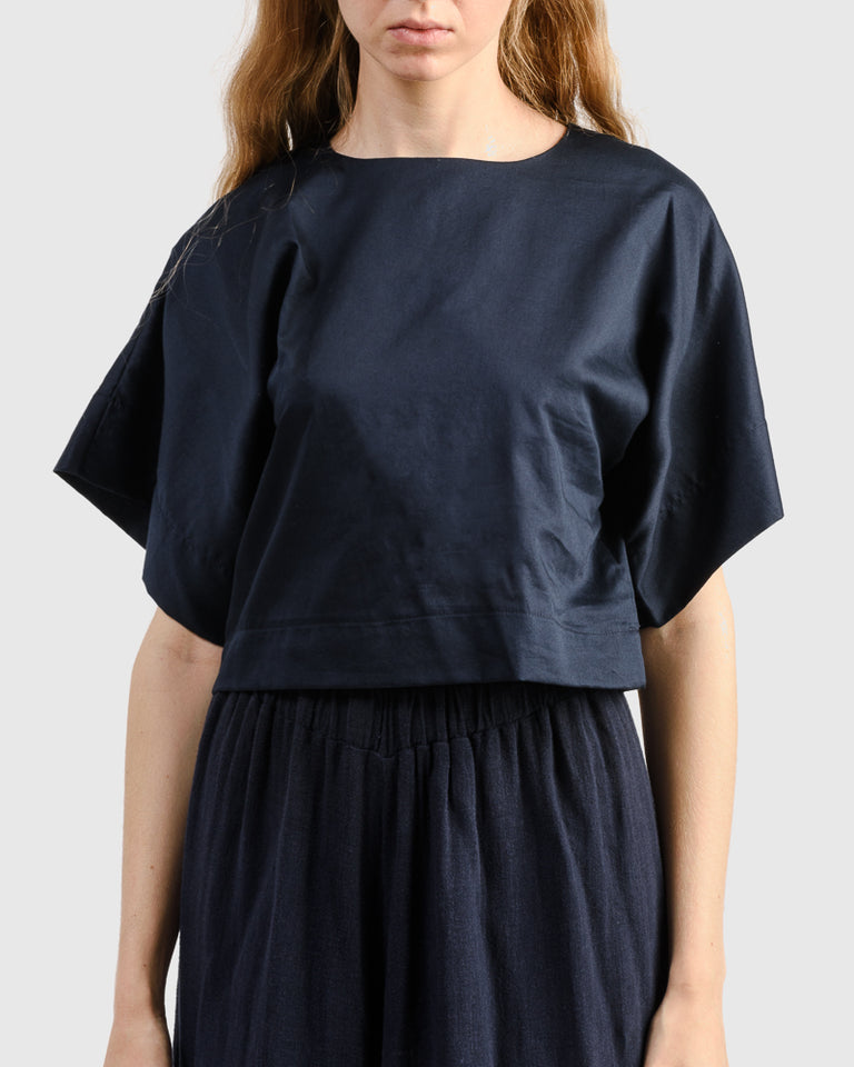 Petal Top in Dark Navy