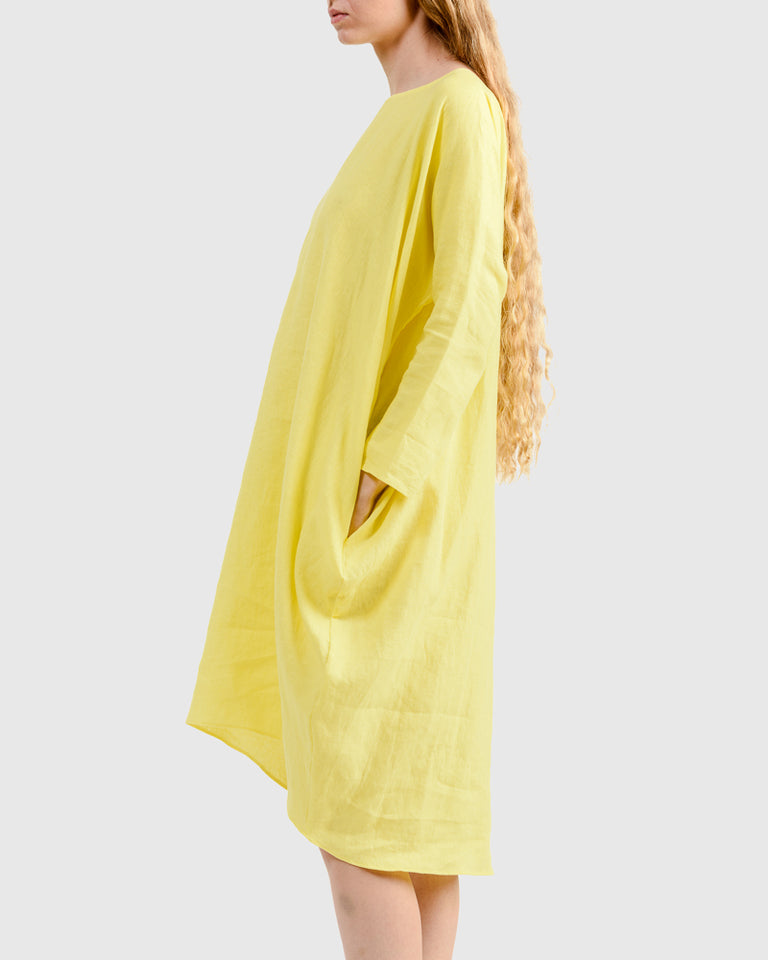 Linen Short Cocoon Dress in Cadmium