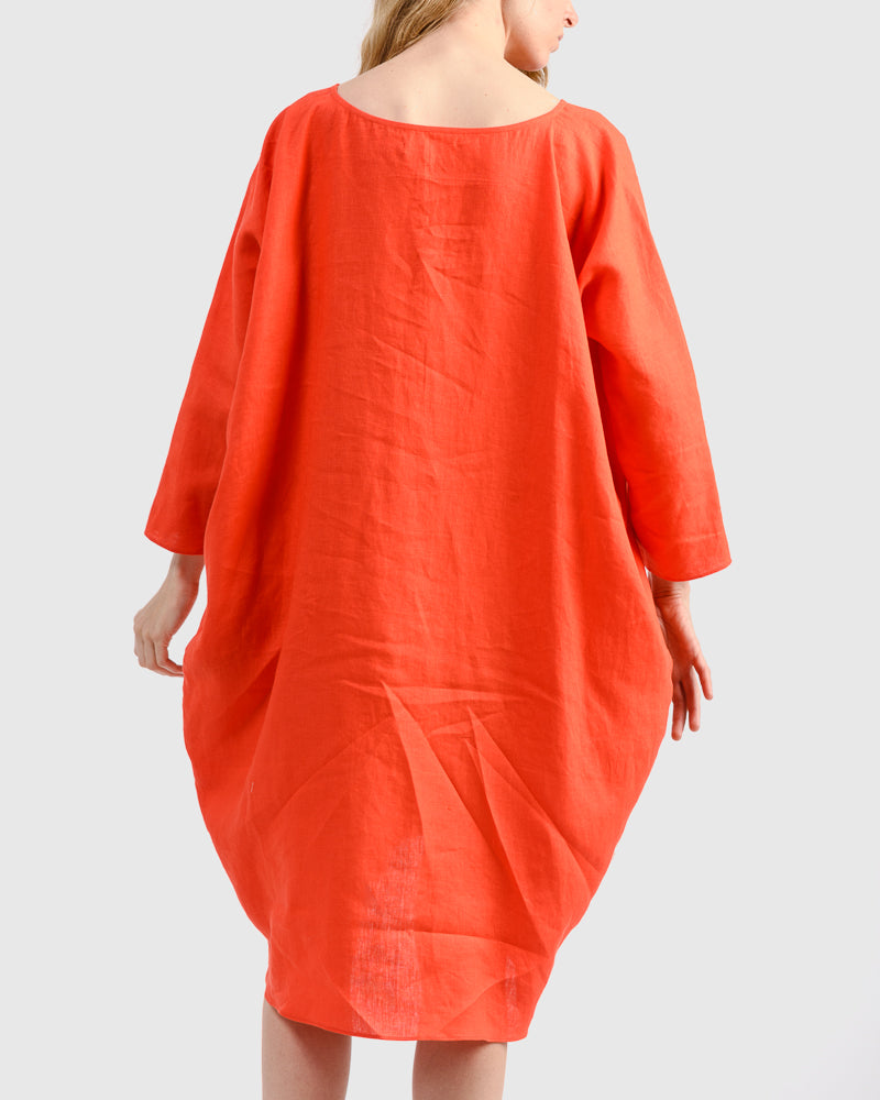 Linen Short Cocoon Dress in Vermilion