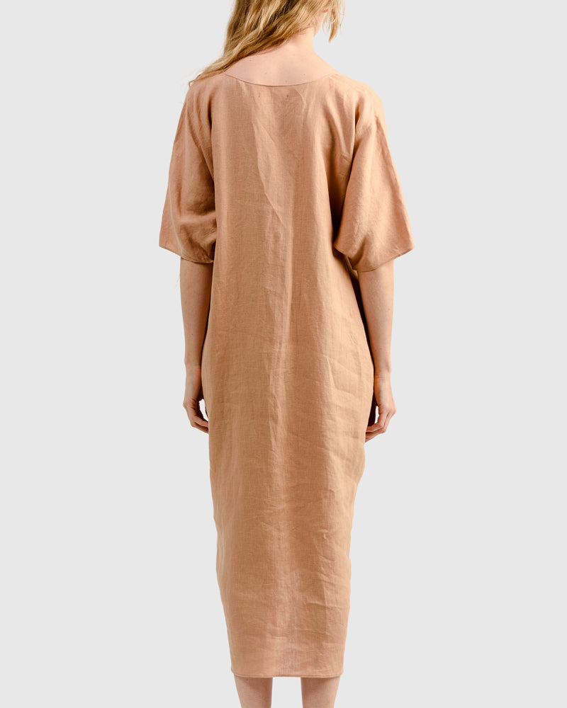 Linen Long V-Neck Caftan in Sand