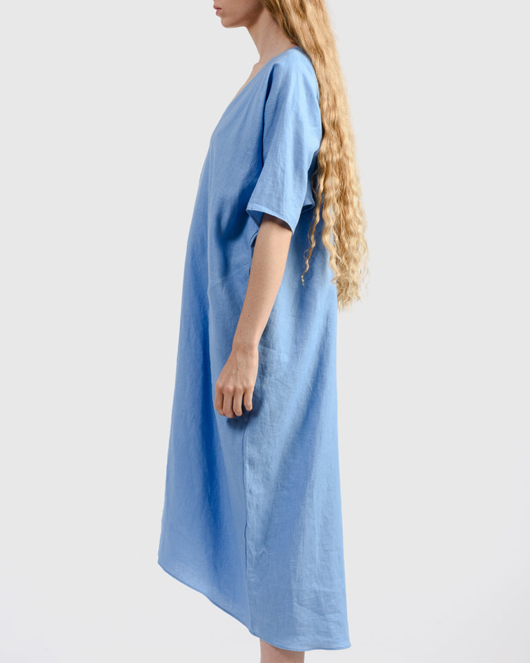 Linen Long V-Neck Caftan in Cerulean