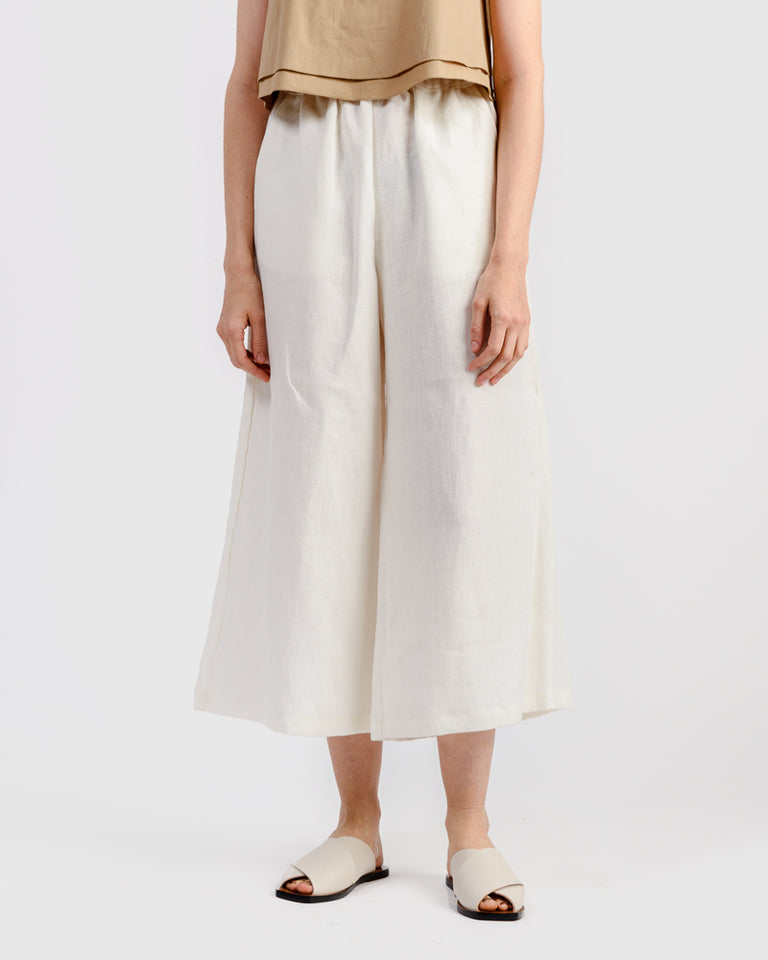 Linen Wide Leg Pant in White