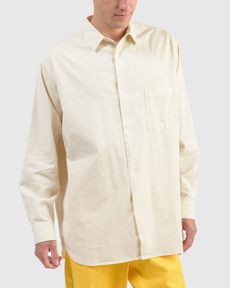 Wide Body Herringbone Shirt in Natural