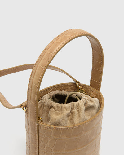 Mini Bissett Bag in Camel Faux Croc