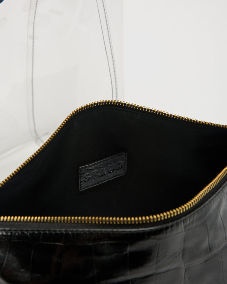 Large Shirley Bag in Black Faux Croc