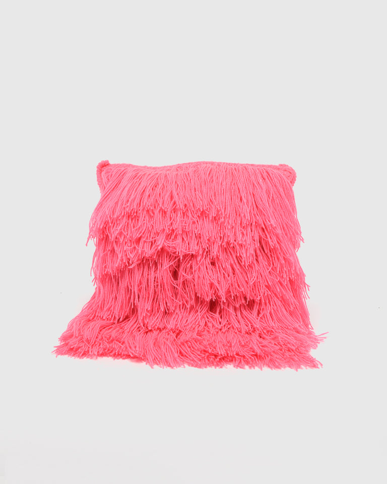 Hairy Pillow in Hot Pink