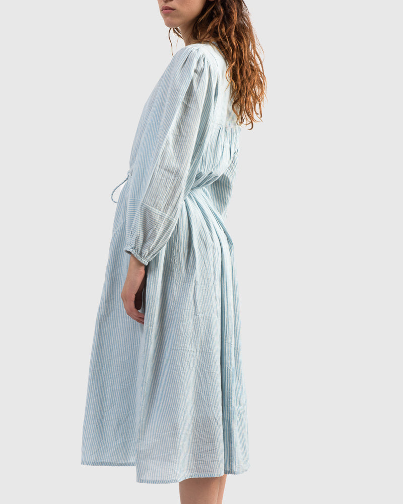 Laguna Shirt Dress in Small Blue Stripe