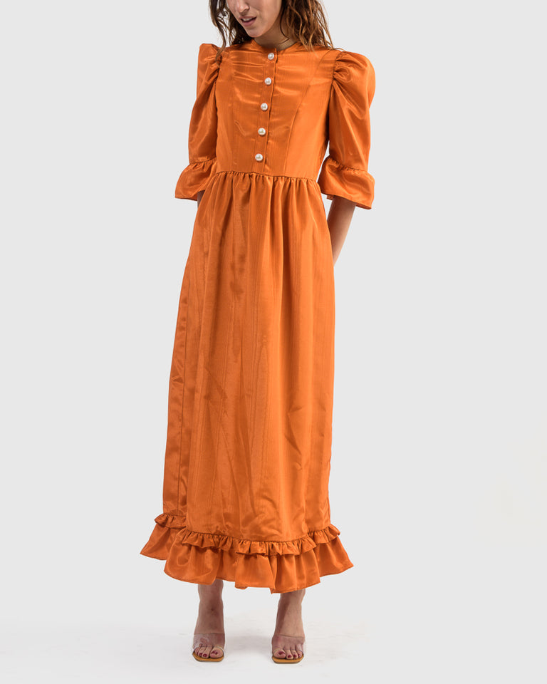 Button-Up Long Prairie Dress in Orange Moire