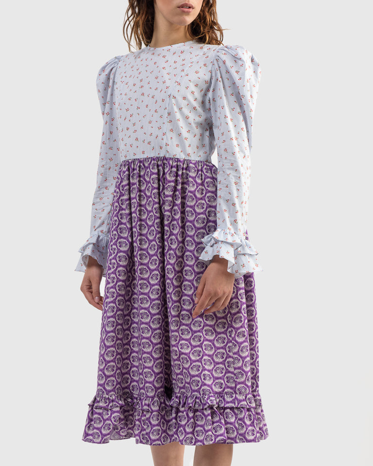 Two-Tone Prairie Dress in Blue Floral / Purple Leaf