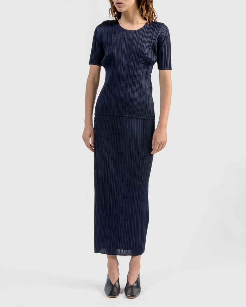 Basic Skirt in Navy by Issey Miyake Pleats Please at Mohawk General Store