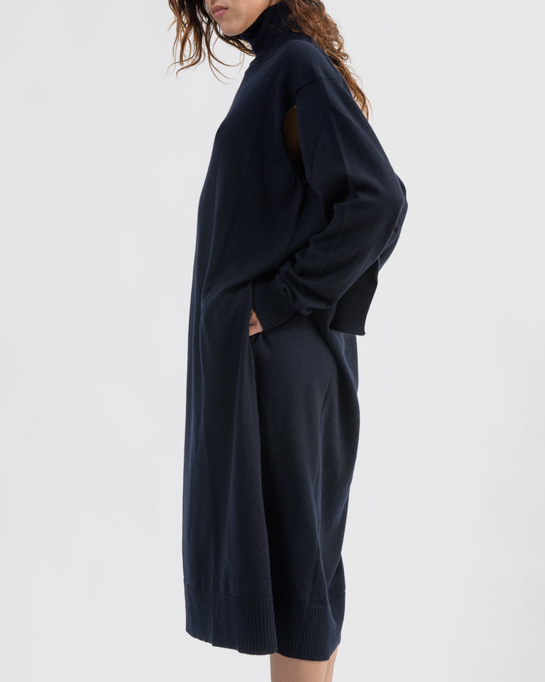 Cashmere Blend Dress in Dark Blue