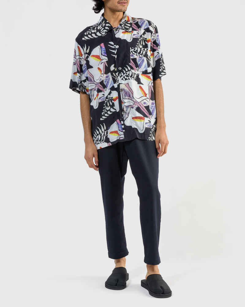Short Sleeve Box Shirt in Crushed Tiles Print