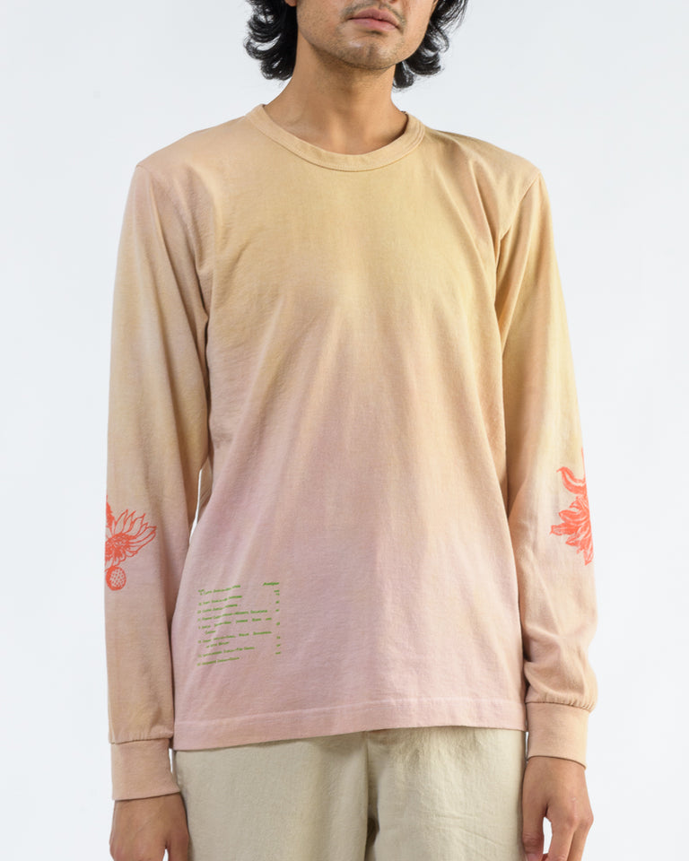 Long Sleeve Tee With Cacti Screenprint in Tie-Dye