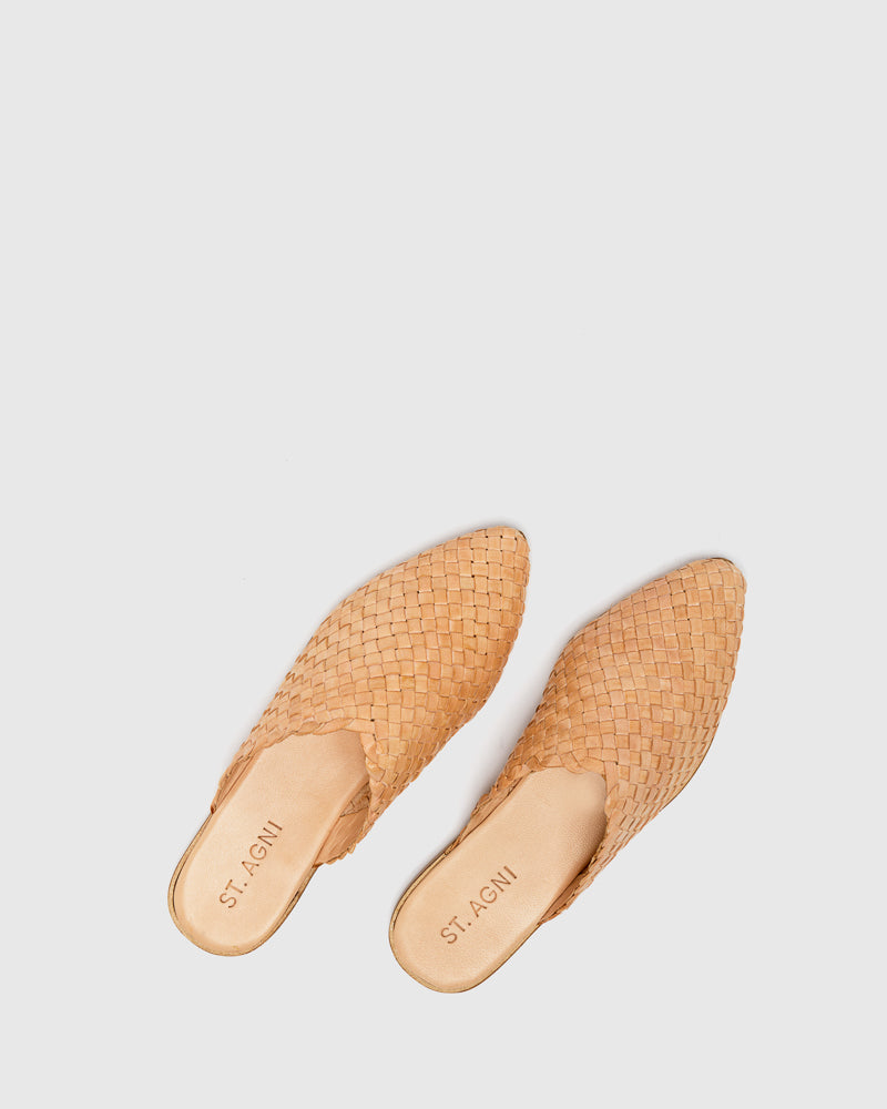 Caio Woven Flat in Nude by ST. AGNI at Mohawk General Store