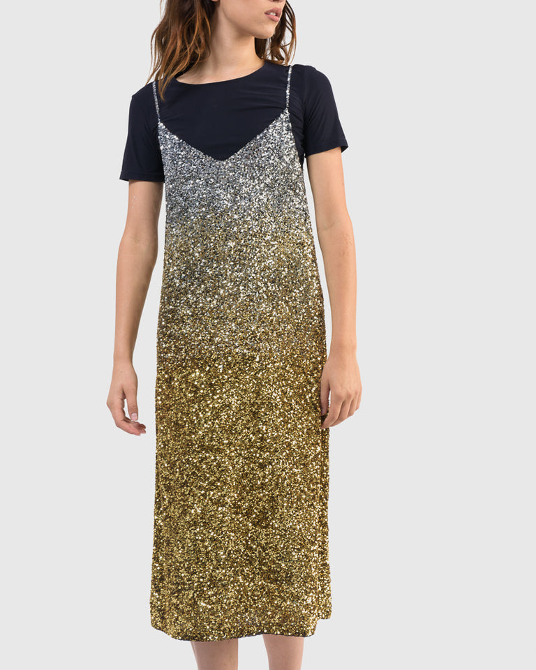 Daria Embellished Dress in Black Gold