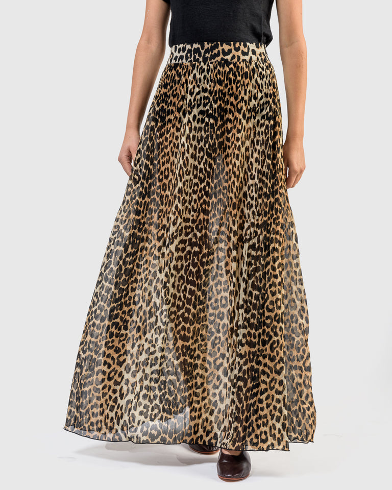 Pleated Georgette Skirt in Leopard