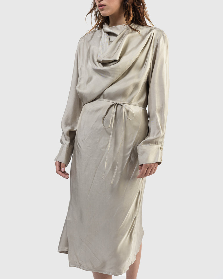 Cowl Wrap Dress in Beige