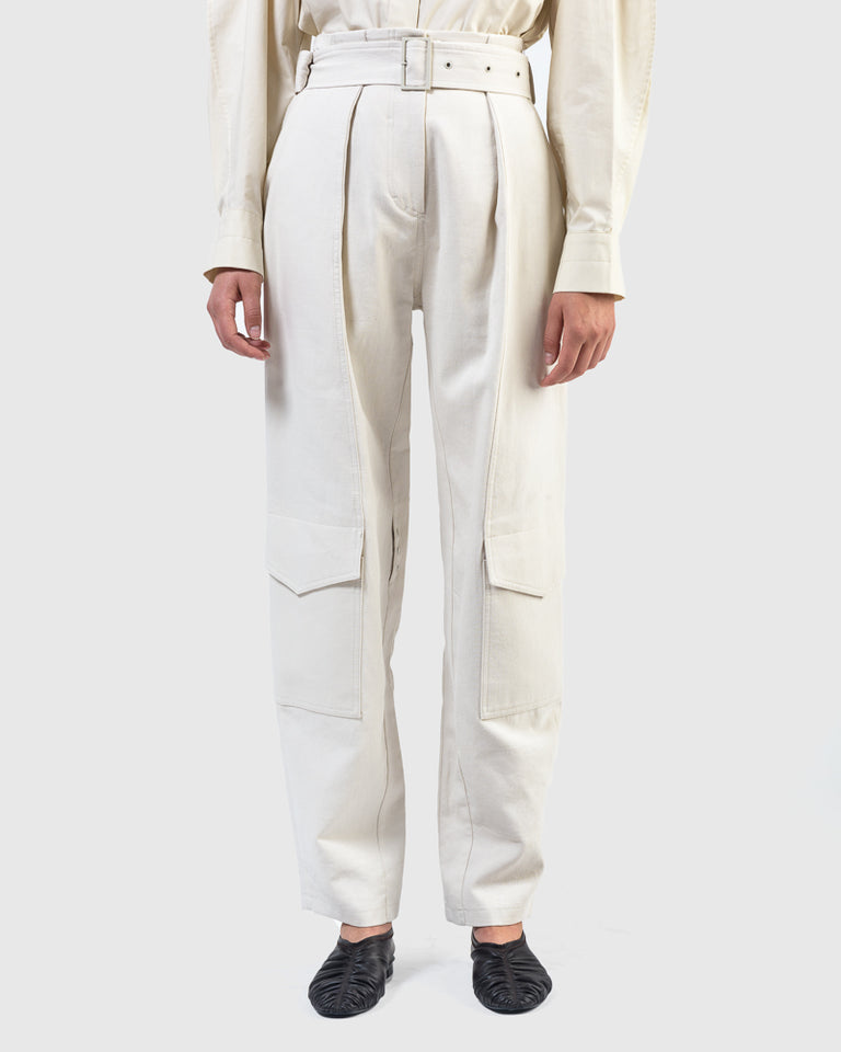 Down Pocket Pants in Cream