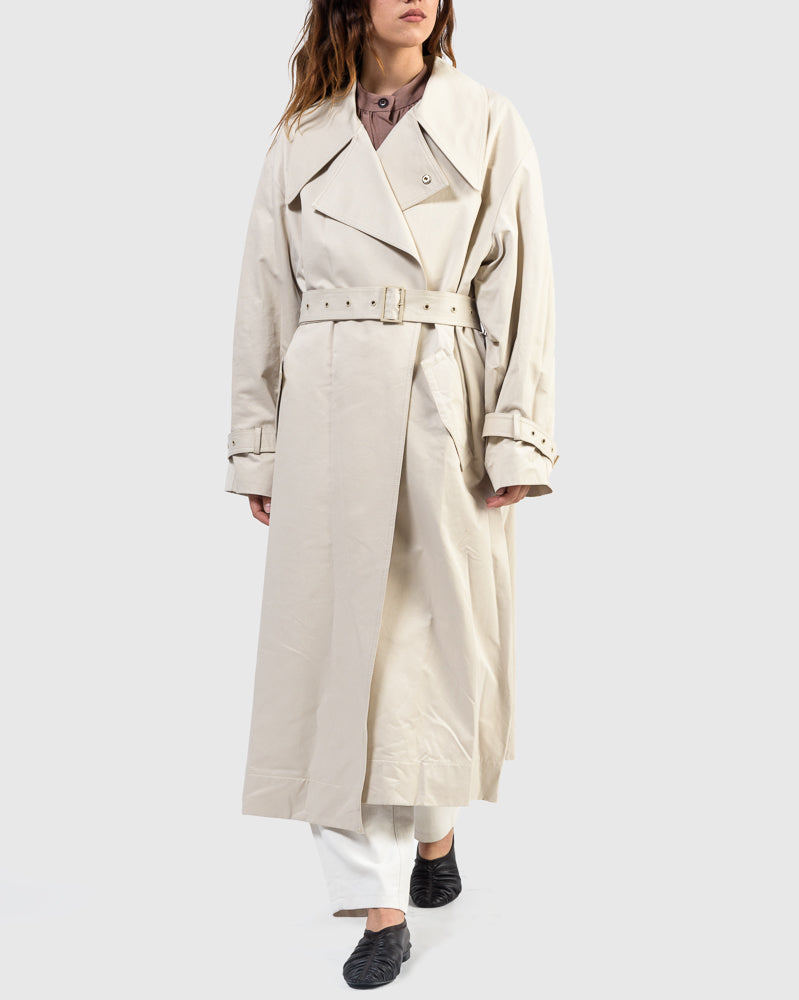 Layered Trench Coat in Ivory