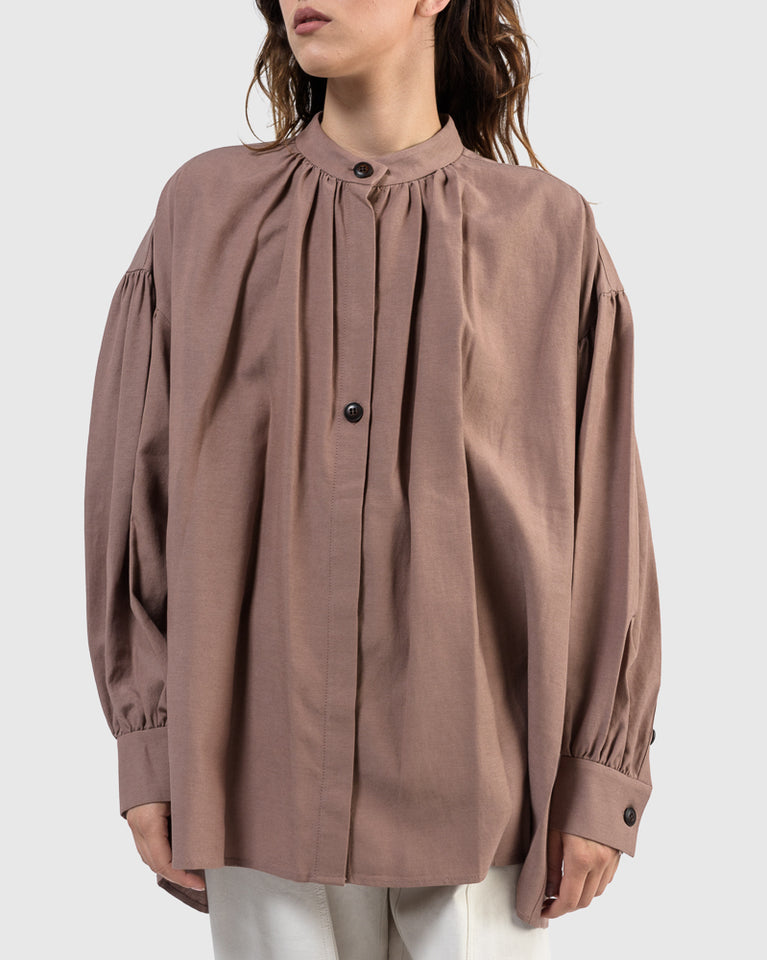 Shirring Shirt in Plum