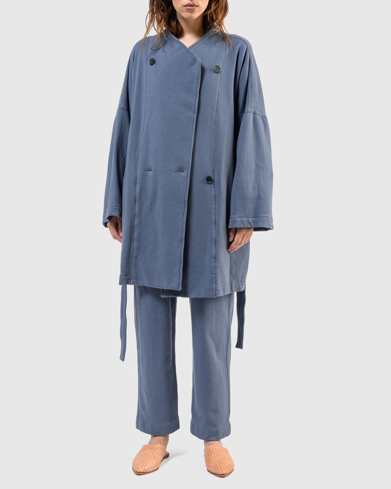 Wrap Coat in Fog Blue