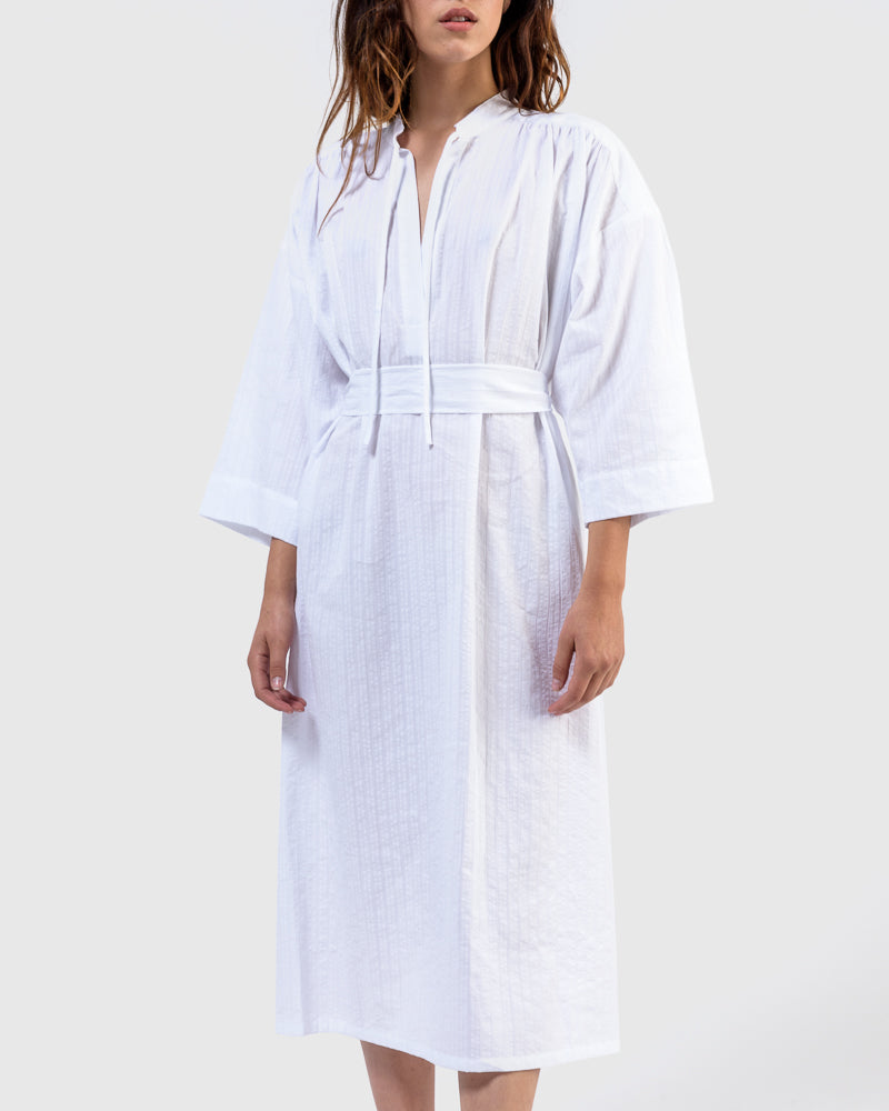 Shima Caftan in White Stripe