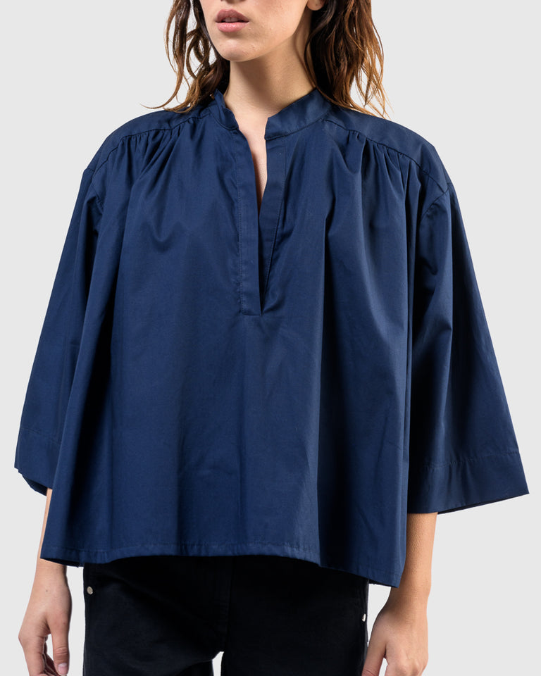 Shima Caftan Top in Navy