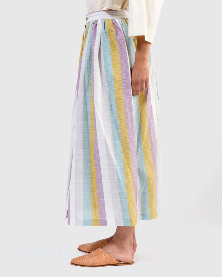 Alyssa Skirt in Wide Multi Color Stipes