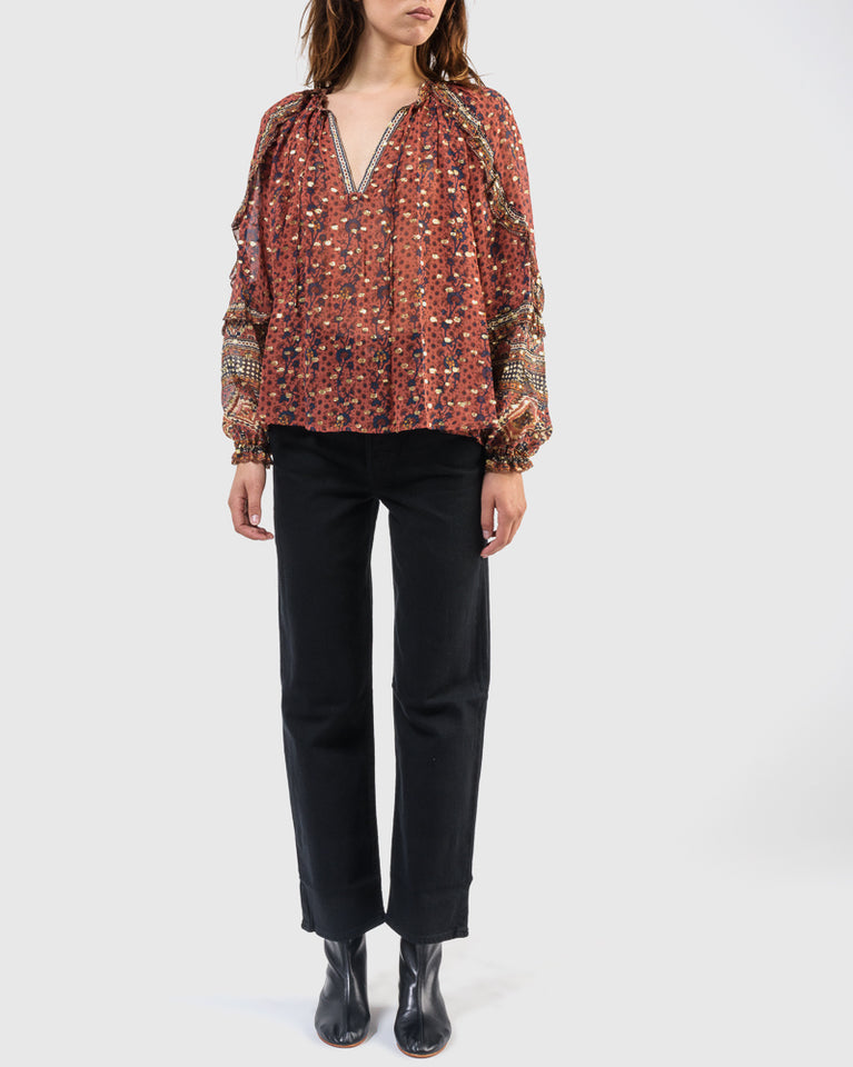 Calista Blouse in Brick