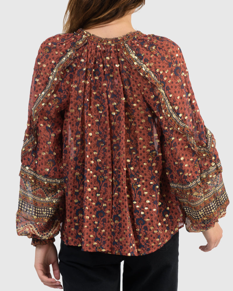 Calista Blouse in Brick by Ulla Johnson at Mohawk General Store