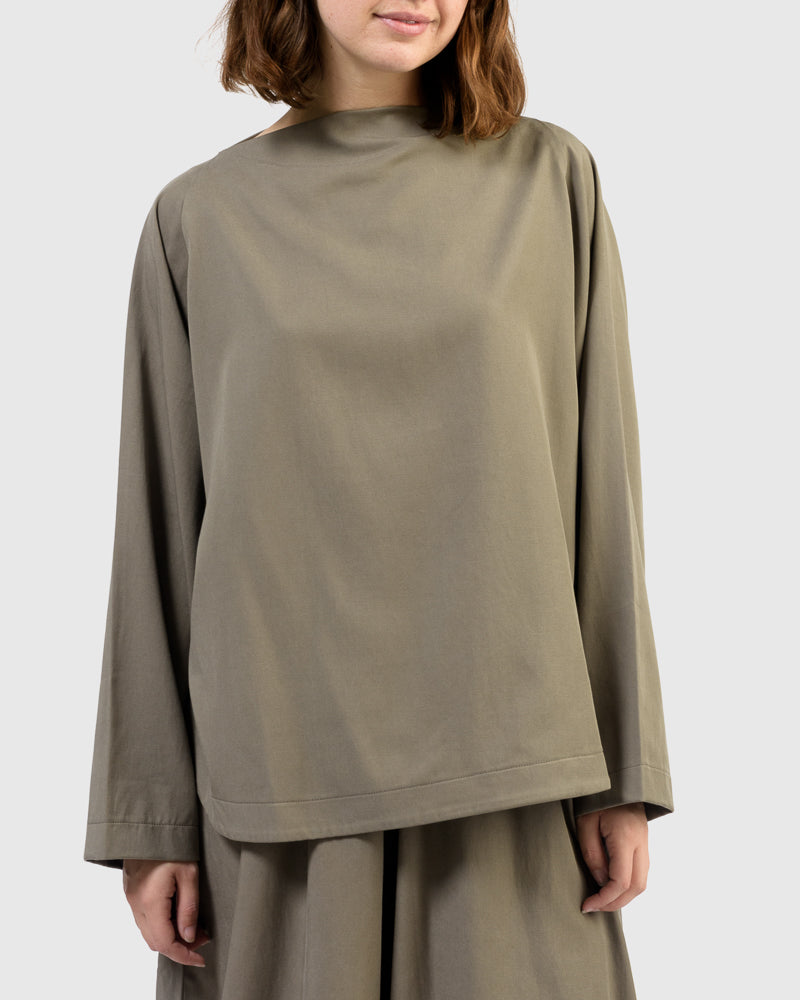 Folded Neck Top in Ash by Black Crane at Mohawk General Store