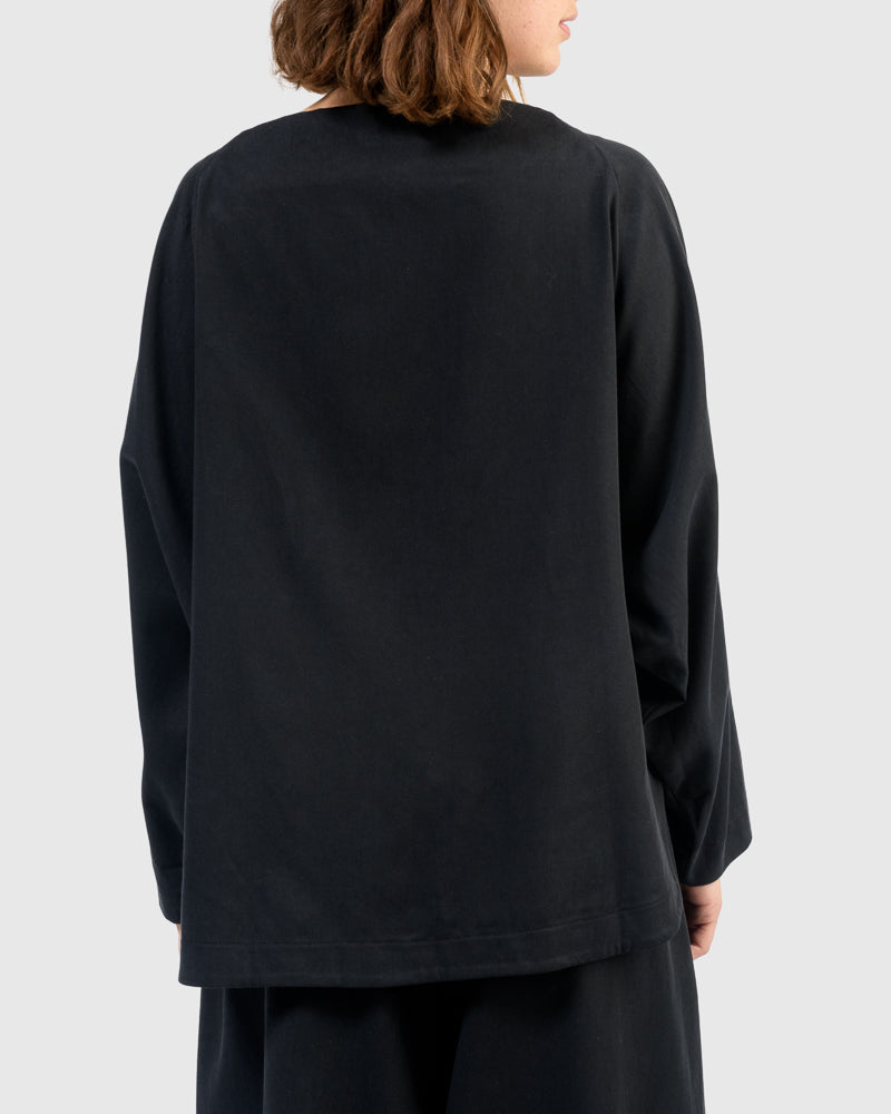 Folded Neck Top in Midnight by Black Crane at Mohawk General Store