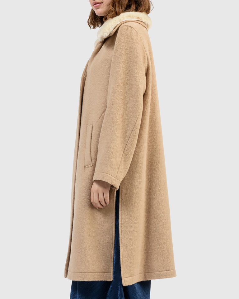 Charley Alpaca Coat in Camel