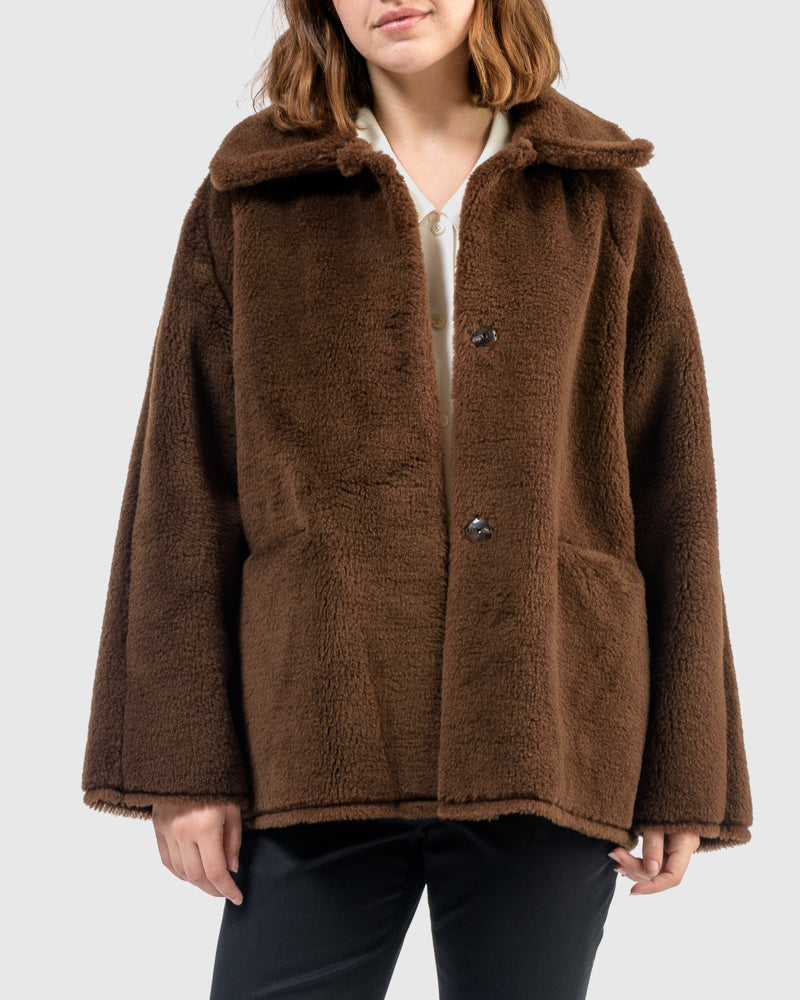 Seoul Shearling Coat in Chestnut