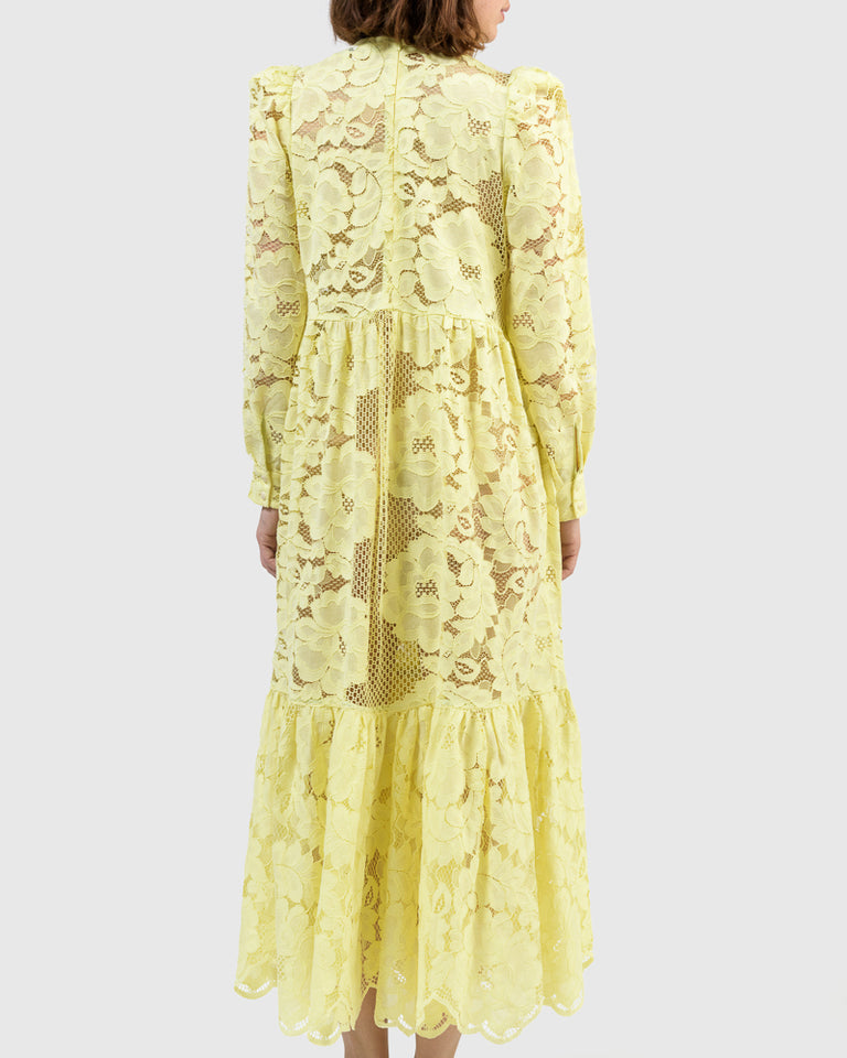 May Lace Dress in Lemon