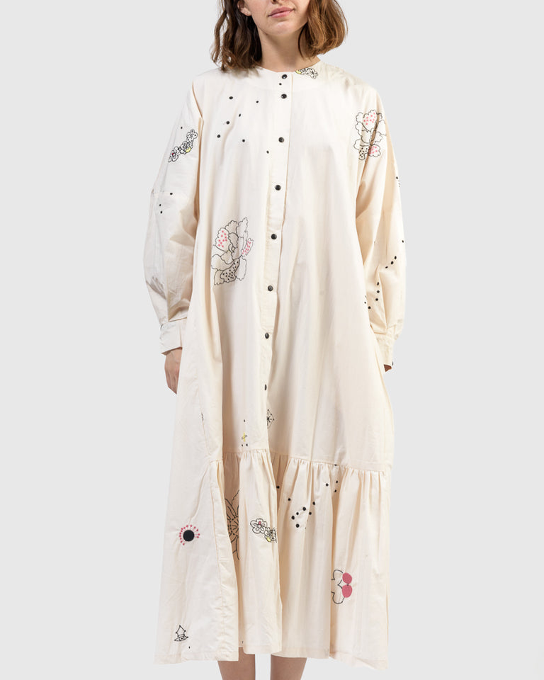 Nadine Embroidered Dress in Beige