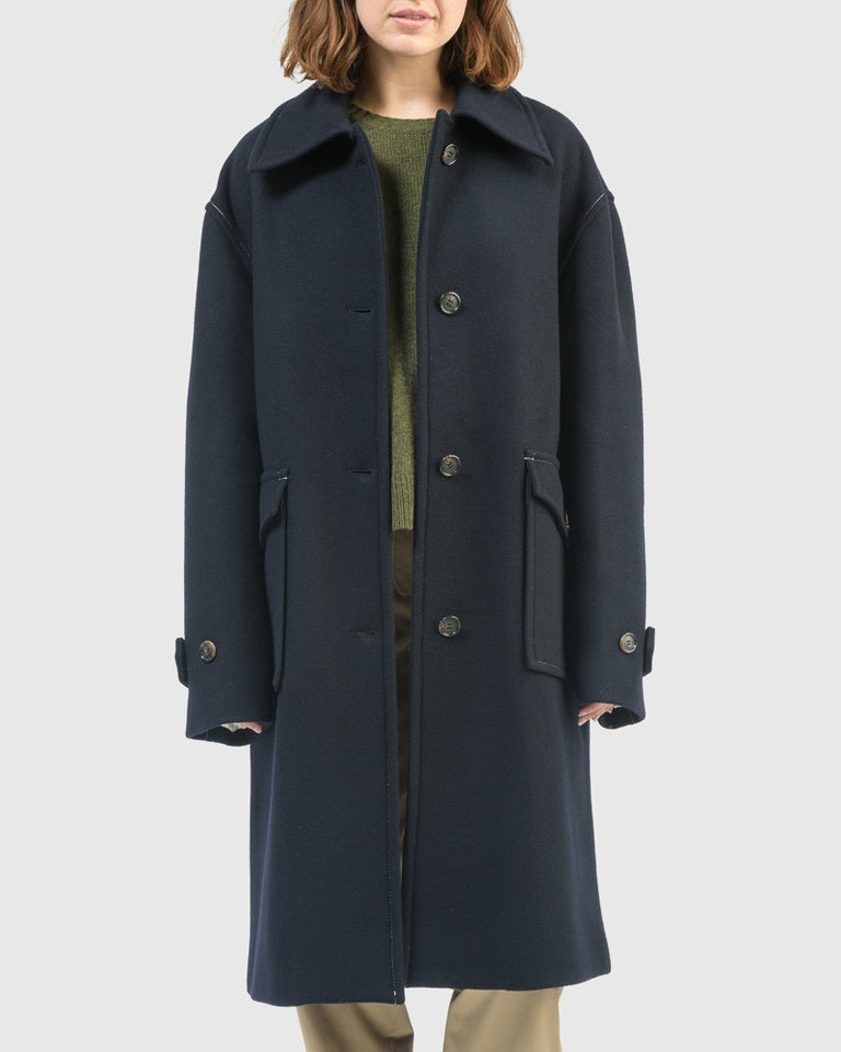 Louise Oversized Coat in Navy