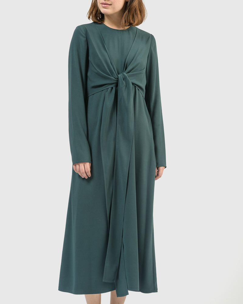 Quinn Long Dress in Dark Green